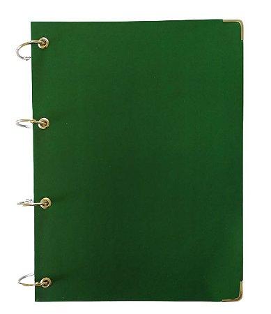 Caderno Universitário Argolado Verde Colegial Cartonado