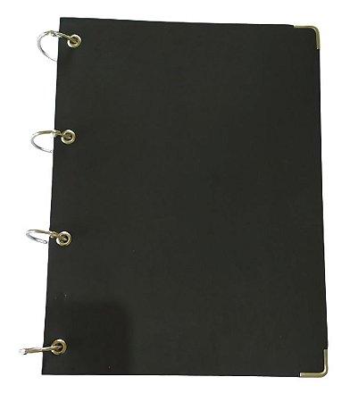 Caderno Universitário Argolado Capa Preto Executivo 200 Folhas