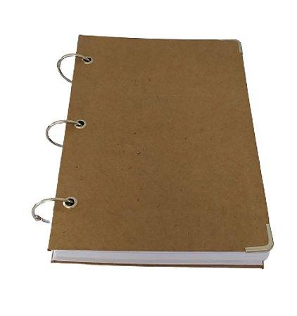 Caderno Argolado Kraft Marrom Rústico Pequeno 10 Matérias A5