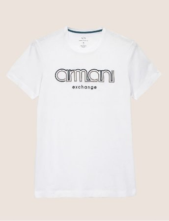 b9db835b21119 Camiseta Armani Exchange Embroidered Slim Branca - Roupas originais ...