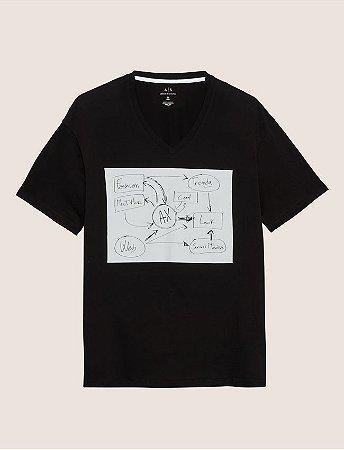 Camiseta Armani Exchange Whiteboard Preta - Hombre Outlet 81005ae9eb