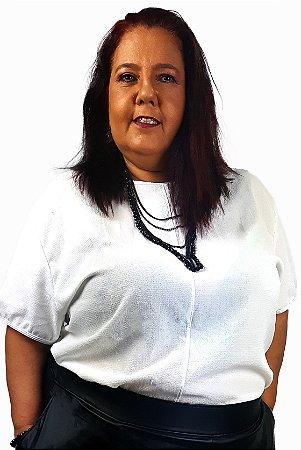Blusa de Malha e Crepe Plus Size Branca