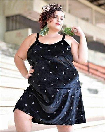 vestido de veludo de coração