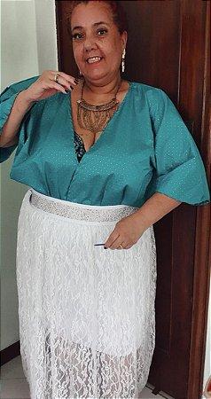 saia de renda plus size branca