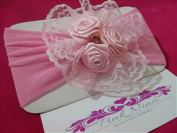 PN 001-FAIXA TRIO MINI ROSAS- rosa/rosa