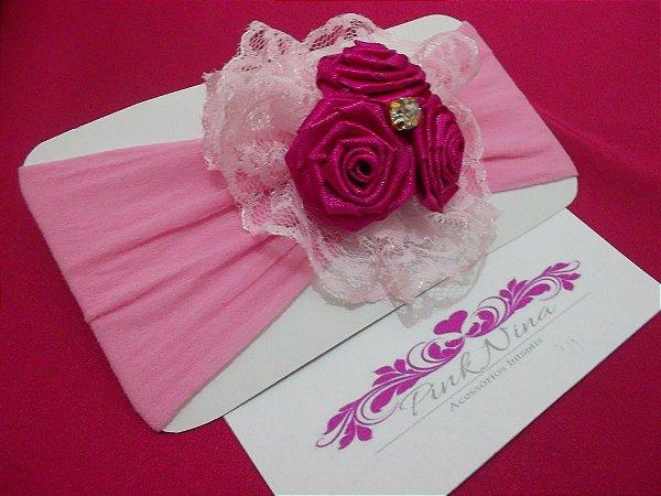 PN 001-FAIXA TRIO MINI ROSAS- rosa/rosa/pink