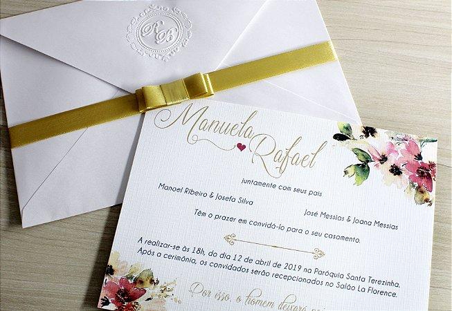 Convite de Casamento Com Relevo Seco ( 100 unidades)