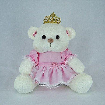 Ursa De Pelúcia Princesa Off White Média Rosa