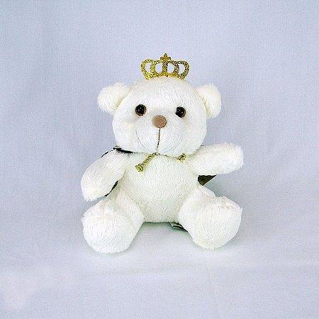 Urso De Pelúcia Príncipe Off White Mini Marinho