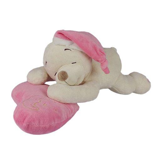 Urso De Pelúcia Dorminhoco Médio - Rosa