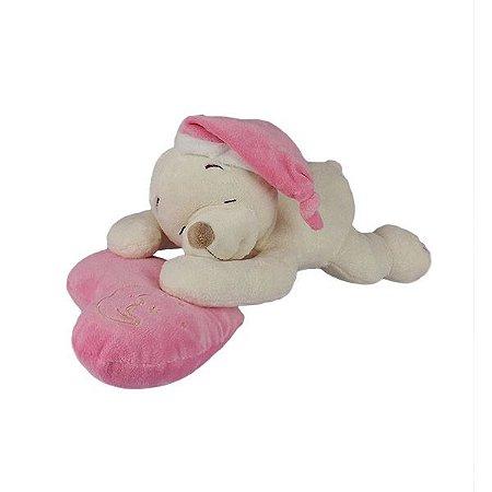 Urso De Pelúcia Dorminhoco Pequeno - Rosa