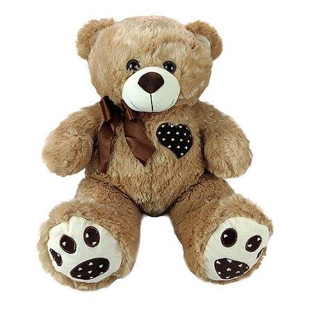Urso De Pelúcia Coração Bege