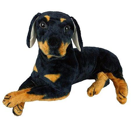 Cachorro de Pelúcia Rottweiler Deitado Grande