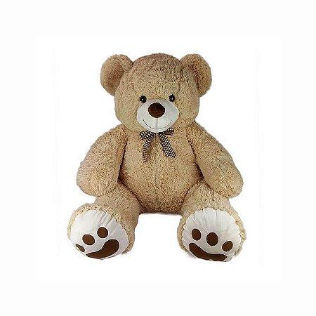 Urso De Pelúcia Grande 70cm Bege Claro