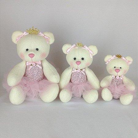 Trio Ursas de Pelúcia Princesa