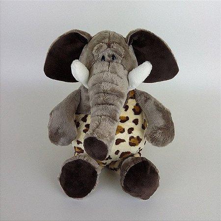 Elefante de Pelúcia 33cm Roupa Safari
