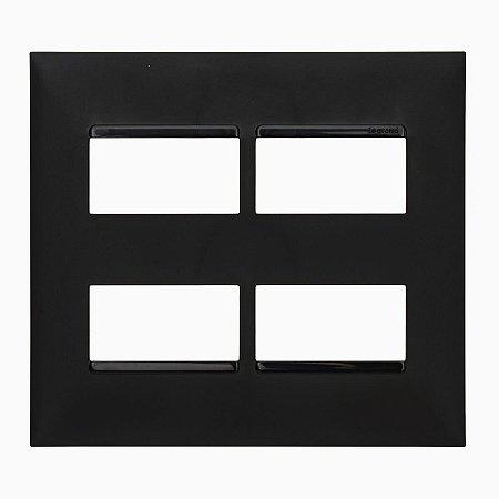 Placa 4x4 2+2 Postos Separados Preta Pial Plus+ Legrand 618514PT