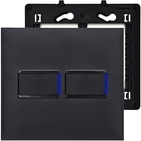 Interruptor 4x4 Preto Simples Pial Plus+ Legrand Com Led
