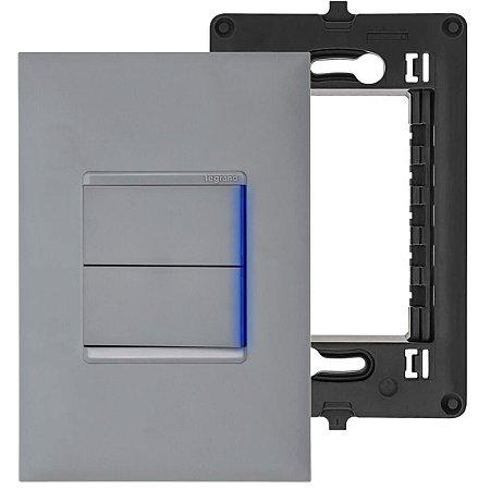Interruptor Cinza Paralelo 2 Teclas Com Led Pial Plus+ Legrand