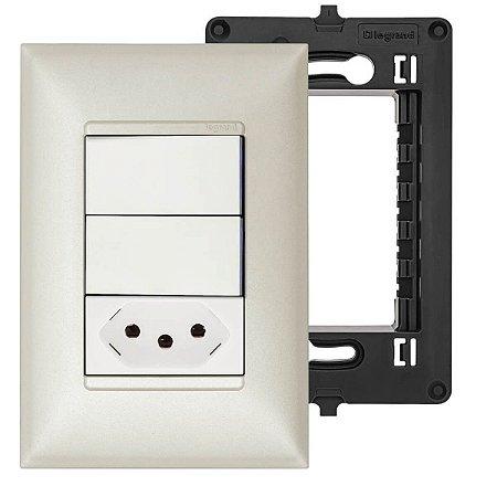 Interruptor Duplo com Tomada 20A Pérola Pial Plus+ Legrand