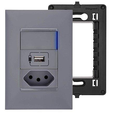 Tomada USB Parede Com Tomada 10A Interruptor Simples Cinza Pial Plus+