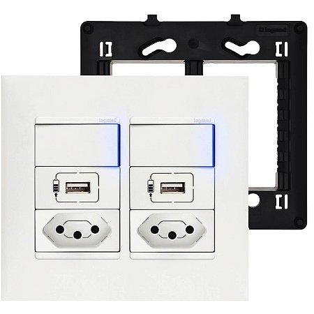 Tomada USB Parede 4x4 Tomada 10A Dupla Interruptor Paralelo Pial Plus+