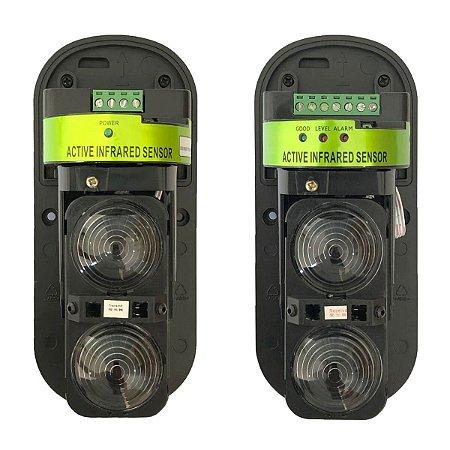 Sensor de Barreira 120 Metros Duplo Infravermelho Ativo Externo IP66 Anti-Neblina
