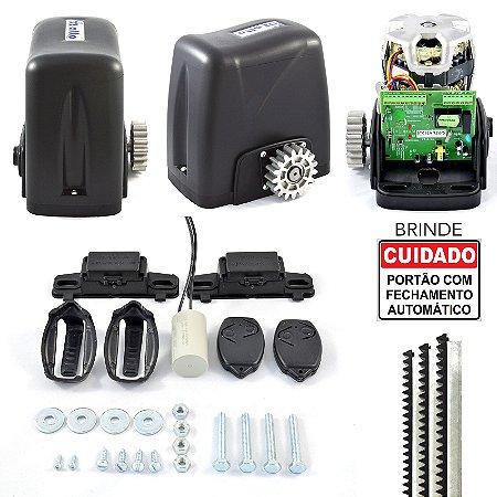 Kit Motor Portão De Correr Rossi 350kg DZ Atto 3m Cremalheiras + 2 Controles