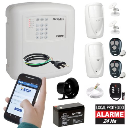 Kit Alarme Residencial Discadora Gsm Chip Sensores Presença