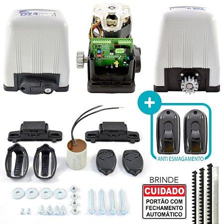 Kit Motor Portão Rossi Deslizante DZ4 Semi Industrial 800Kg + 3m Cremalheira + Sensor Antiesmagamento
