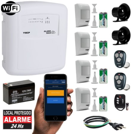 Kit Alarme Residencial Conexão Internet Wireless 4 Sensores Completo