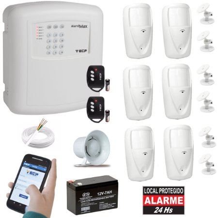 Kit Alarme Residencial Gsm Chip Ecp 2 Controle 6 Sensor Pet