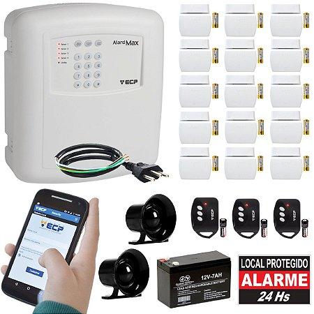 Kit Alarme Residencial Gsm Ecp Chip 15 Sensores Alard Max 4