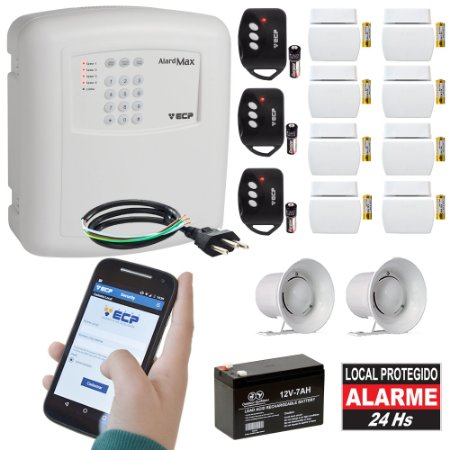 Kit Alarme Residencial GSM ECP Chip 8 Sensores Abertura Sem Fio Alard Max 4