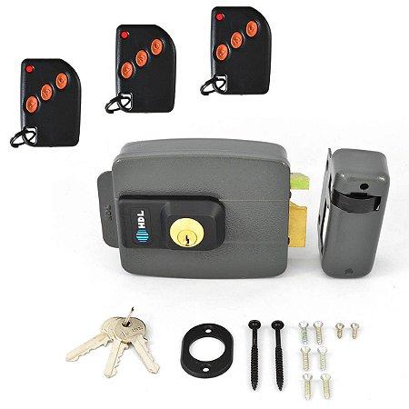 Kit Fechadura HDL C-90 Com Receptor 433MHz + 3 Controles Remotos