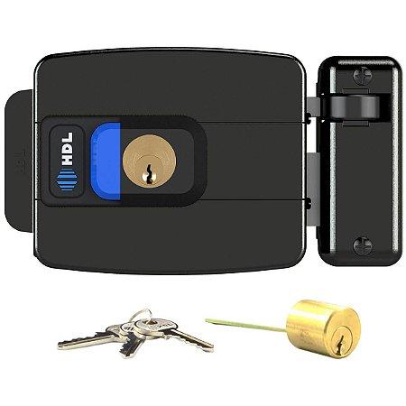 Fechadura Elétrica HDL C90 Botão Cilindro Ajustável 31-87mm Preta