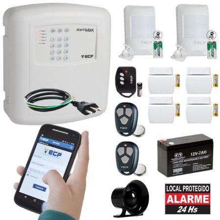 Kit Alarme Residencial ECP MAX4 C/ Discadora Gsm P/Celular Sem Fio 6 Sensores