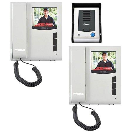 Kit Video Porteiro Eletrônico HDL Sense Classic Colorido Com 2 Monitores