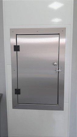 Porta Pivotante Para Elevador Monta Carga Aço Inox