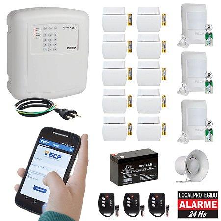 Kit Alarme Residencial GSM Sem Fio Chip ECP 13 Sensores Alard Max 4