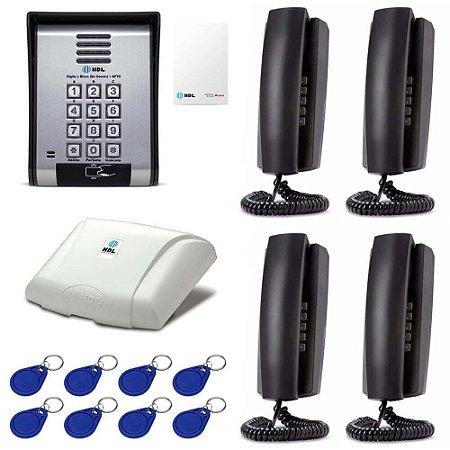 Porteiro Eletrônico HDL Coletivo 4 Pontos Com Leitor de Cartão Tag + Telefones