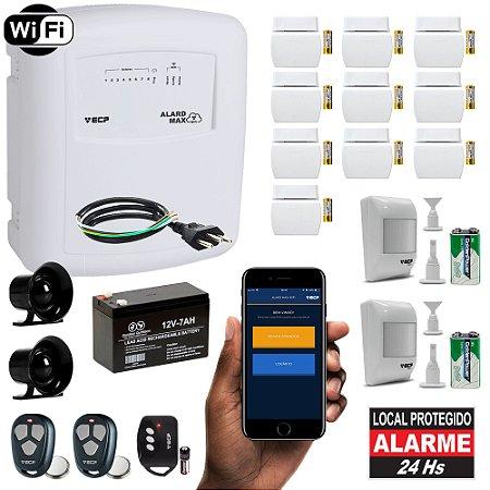 Kit Alarme Residencial Wifi com Internet Aplicativo iPhone e Android 12 Sensores