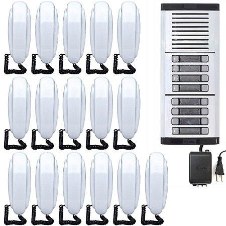 Kit Porteiro Eletrônico Coletivo HDL 16 Pontos Com 16 Monofones