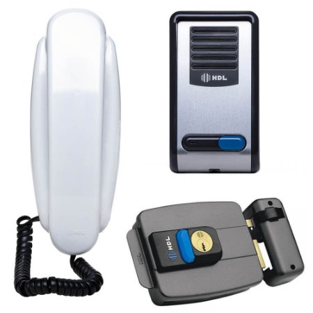 Kit Interfone Residencial HDL F8 S NTL + Fechadura Elétrica HDL C-90 com Botão