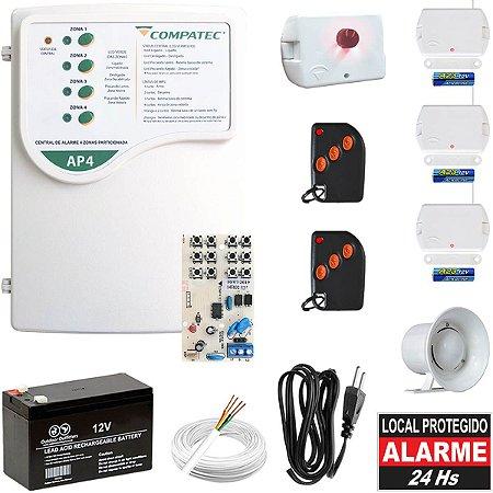 Alarme Residencial Sem Fio Compatec AP4 Discadora 3 Sensor Porta
