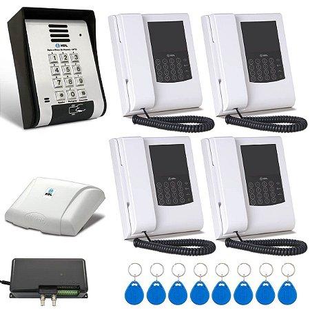 Vídeo Porteiro HDL 4 Pontos Com Telefone Leitor de Cartão Tag RFID F12SVCA
