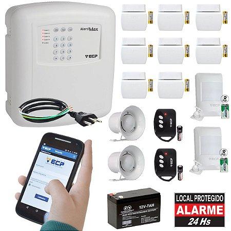 Alarme Residencial GSM Chip 10 Sensores Sem Fio, 2 Controles, 2 Sirenes e Bateria