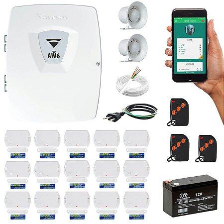 Alarme Residencial Wifi via Internet 15 Sensores Porta Janela Sem Fio Compatec
