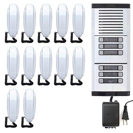 Porteiro Eletrônico Coletivo 12 Pontos HDL Interfone Predial Completo