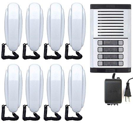 Interfone 8 Pontos HDL Porteiro Eletrônico Coletivo Predial